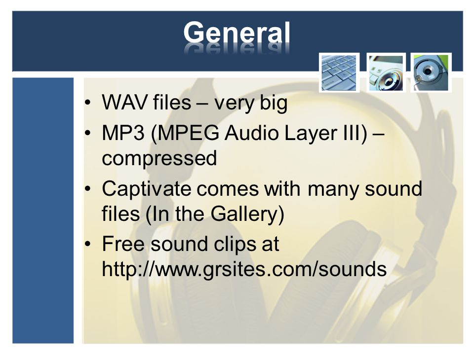 WAV files – very big MP3 (MPEG Audio Layer III) – compressed Captivate comes with many sound files (In the Gallery) Free sound clips at