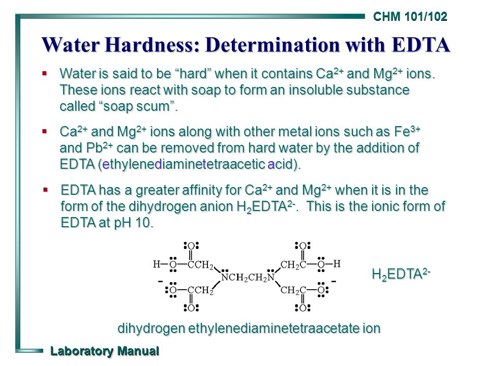 CHM 101/102 Laboratory Manual Water Hardness: Determination with ...