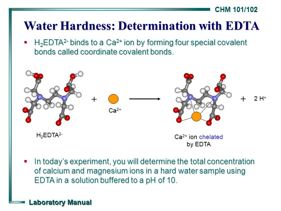 complexometric determination of water hardness lab Hardness of water also can be tested by a more rapid test strip method the commercial test strips contain edta and an indicator chemical to cause a color change when the calcium and magnesium about this chapter title water hardness testing by complexometric determination of calcium.