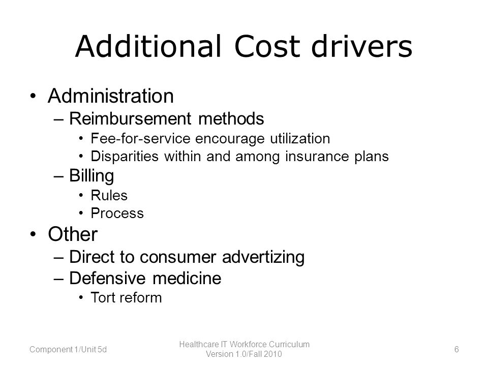 Additional Cost drivers Administration –Reimbursement methods Fee-for-service encourage utilization Disparities within and among insurance plans –Billing Rules Process Other –Direct to consumer advertizing –Defensive medicine Tort reform Component 1/Unit 5d6 Healthcare IT Workforce Curriculum Version 1.0/Fall 2010