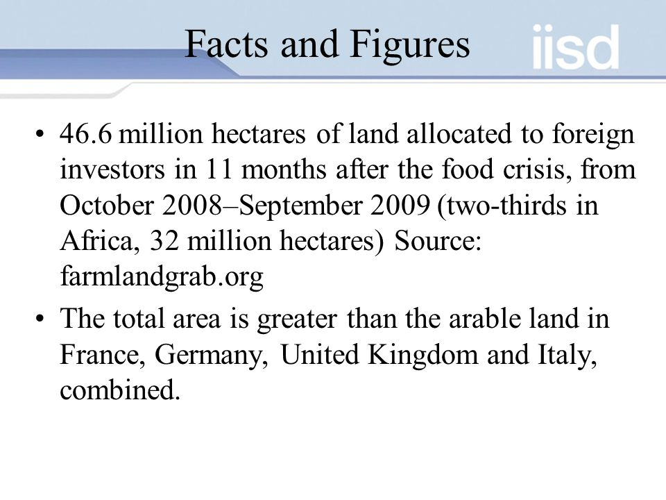Facts and Figures 46.6 million hectares of land allocated to foreign investors in 11 months after the food crisis, from October 2008–September 2009 (two-thirds in Africa, 32 million hectares) Source: farmlandgrab.org The total area is greater than the arable land in France, Germany, United Kingdom and Italy, combined.