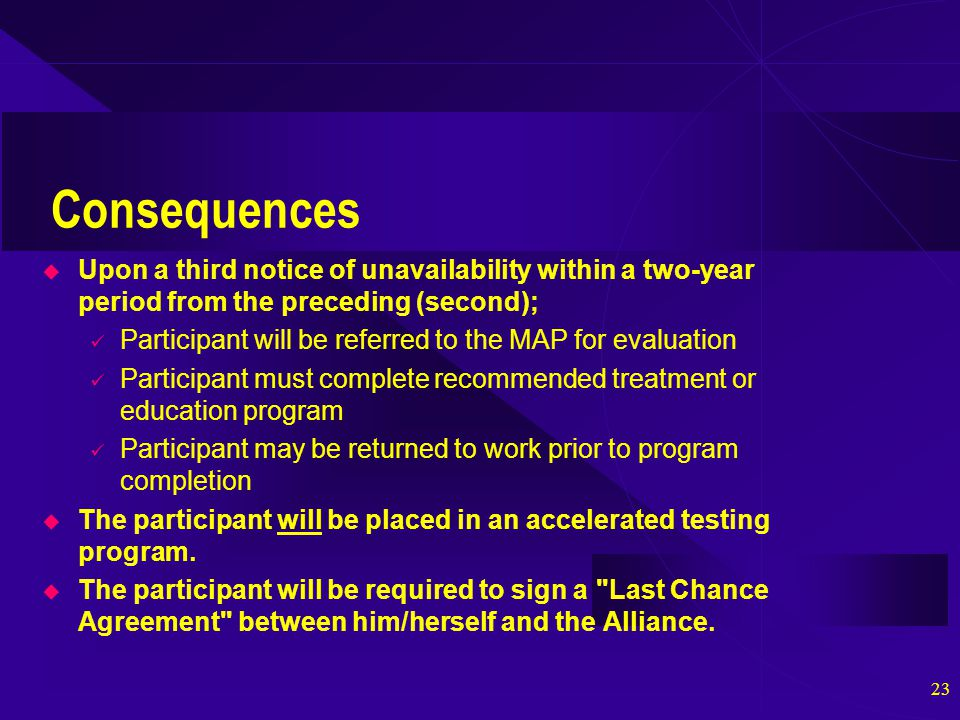 23 Consequences  Upon a third notice of unavailability within a two-year period from the preceding (second); Participant will be referred to the MAP for evaluation Participant must complete recommended treatment or education program Participant may be returned to work prior to program completion  The participant will be placed in an accelerated testing program.