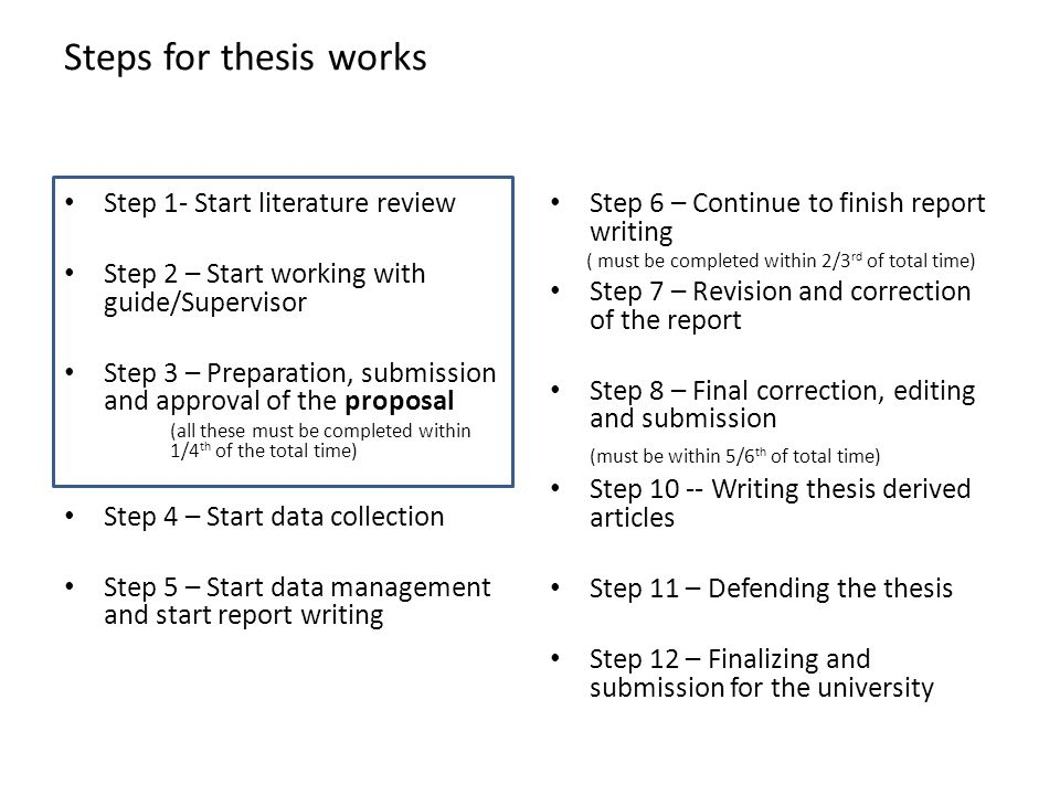 steps writing graduate thesis