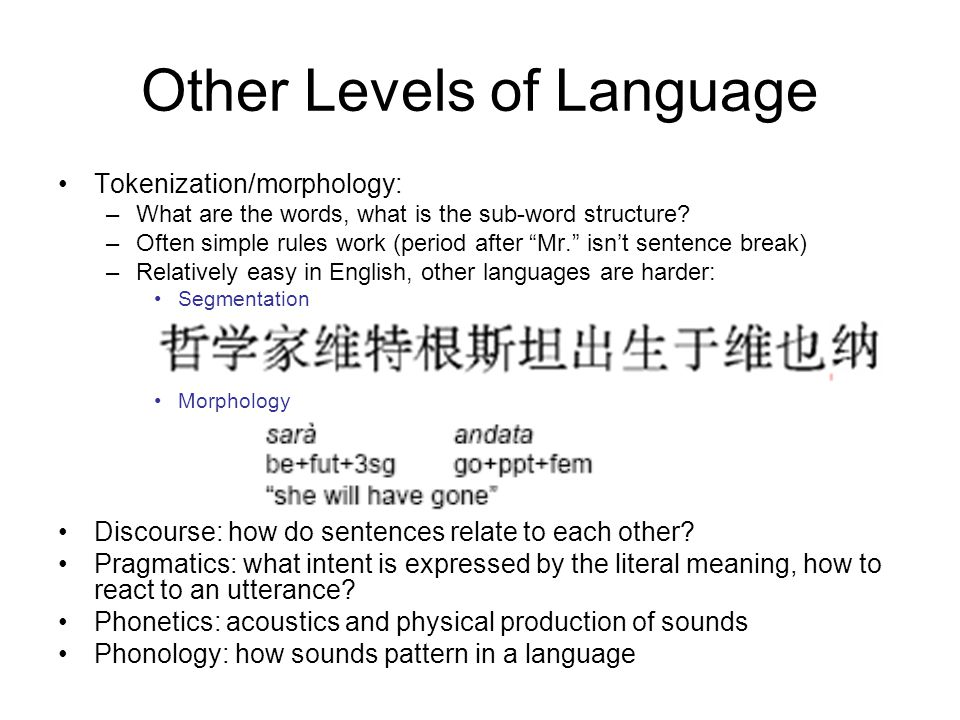 Other Levels of Language Tokenization/morphology: –What are the words, what is the sub-word structure.