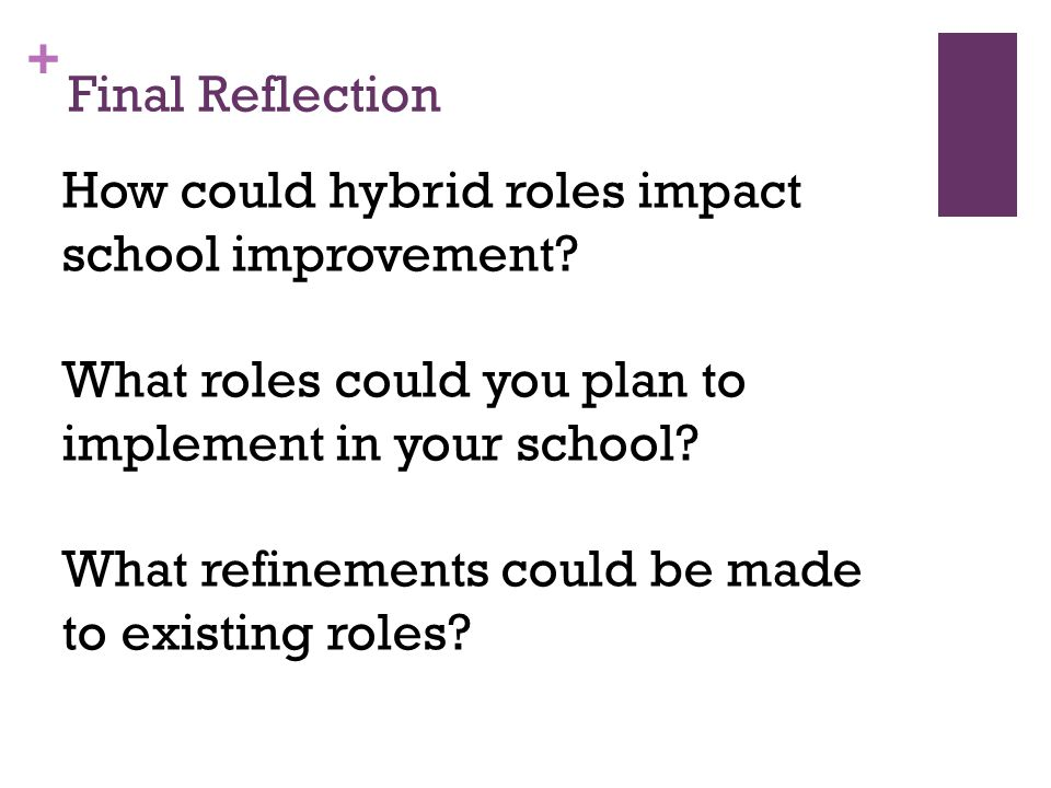 + Final Reflection How could hybrid roles impact school improvement.