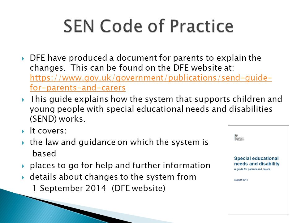  DFE have produced a document for parents to explain the changes.