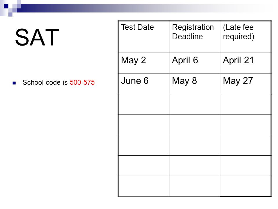SAT School code is Test DateRegistration Deadline (Late fee required) May 2April 6April 21 June 6May 8May 27