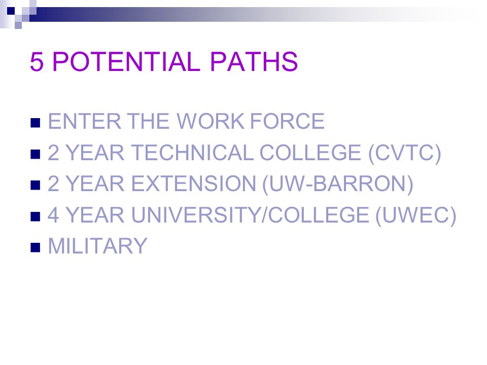 5 POTENTIAL PATHS ENTER THE WORK FORCE 2 YEAR TECHNICAL COLLEGE (CVTC) 2 YEAR EXTENSION (UW-BARRON) 4 YEAR UNIVERSITY/COLLEGE (UWEC) MILITARY