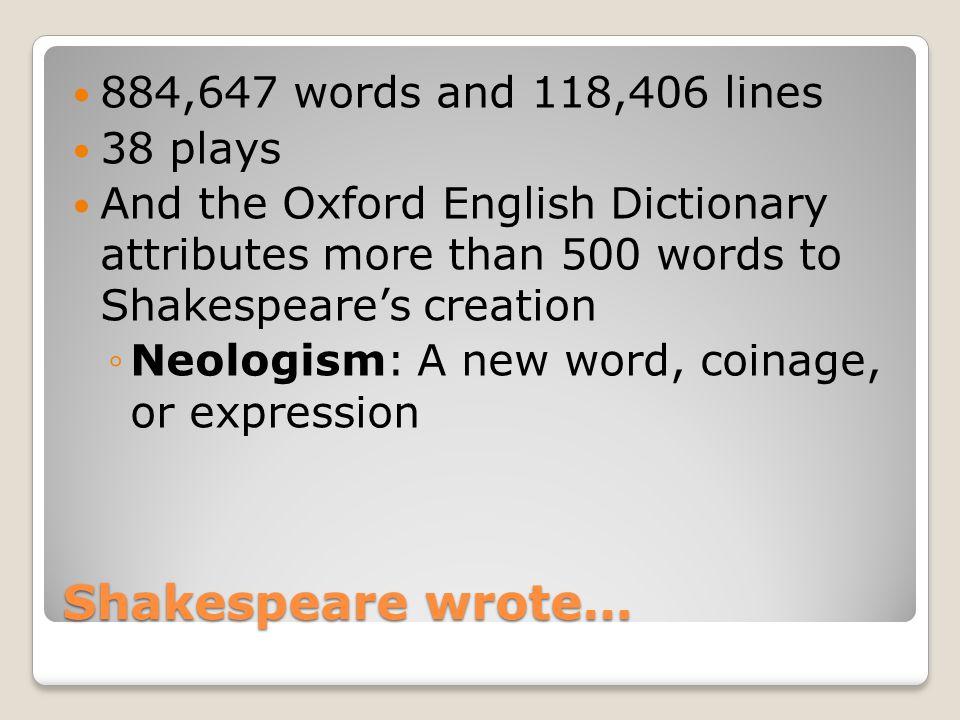 Shakespeare neologisms