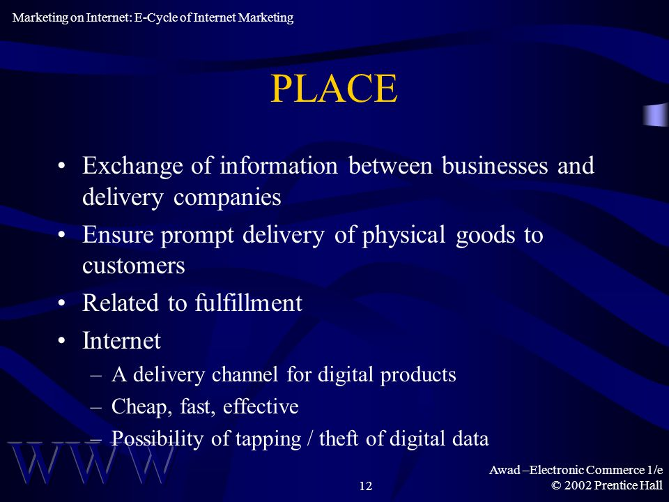 Awad –Electronic Commerce 1/e © 2002 Prentice Hall12 PLACE Exchange of information between businesses and delivery companies Ensure prompt delivery of physical goods to customers Related to fulfillment Internet –A delivery channel for digital products –Cheap, fast, effective –Possibility of tapping / theft of digital data Marketing on Internet: E-Cycle of Internet Marketing