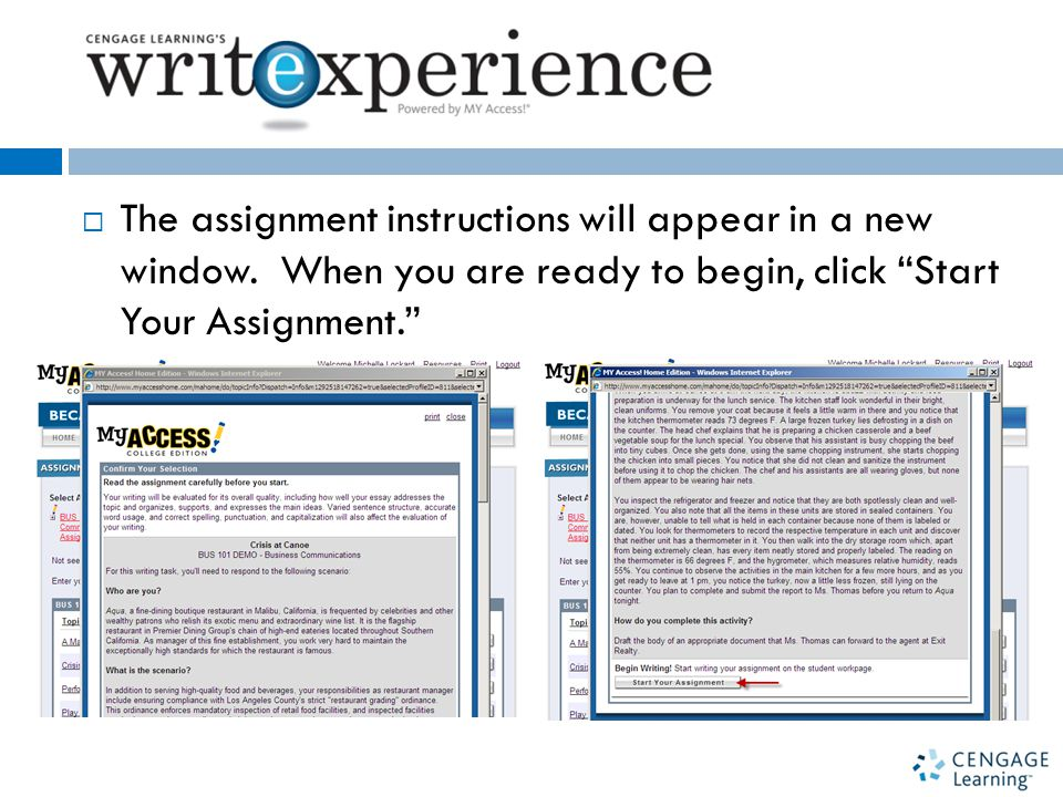  The assignment instructions will appear in a new window.