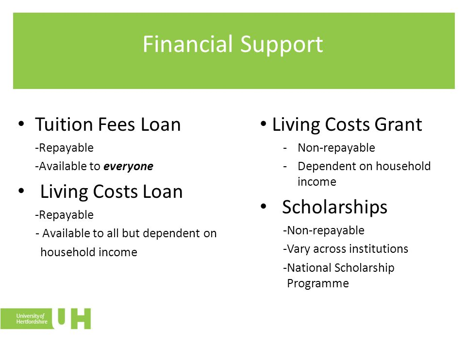 Financial Support Tuition Fees Loan -Repayable -Available to everyone Living Costs Loan -Repayable - Available to all but dependent on household income Living Costs Grant -Non-repayable -Dependent on household income Scholarships -Non-repayable -Vary across institutions -National Scholarship Programme