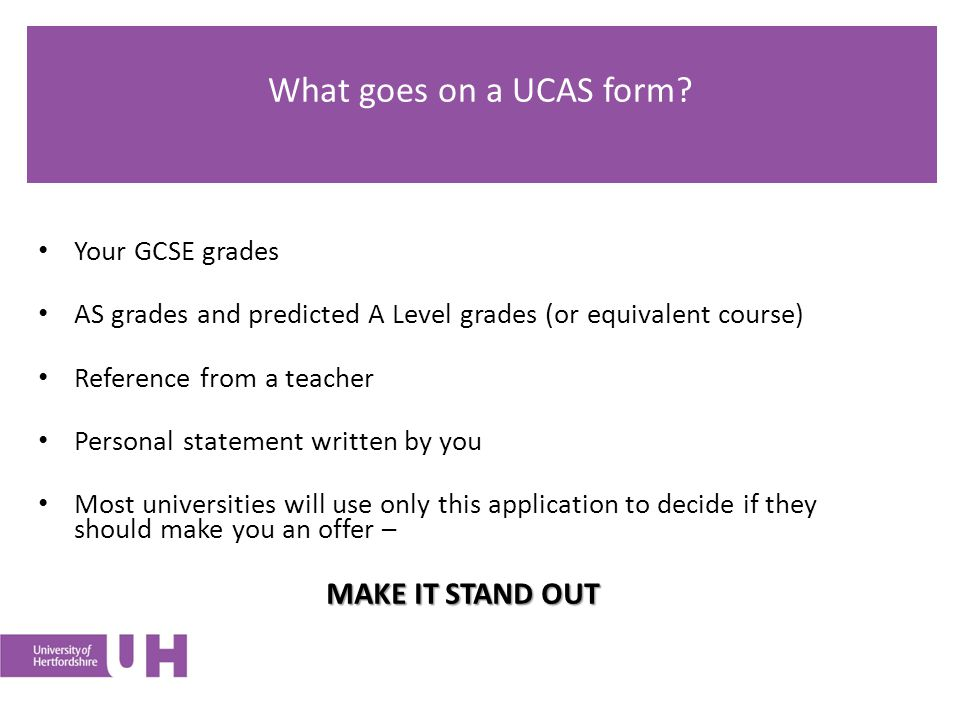 What goes on a UCAS form.