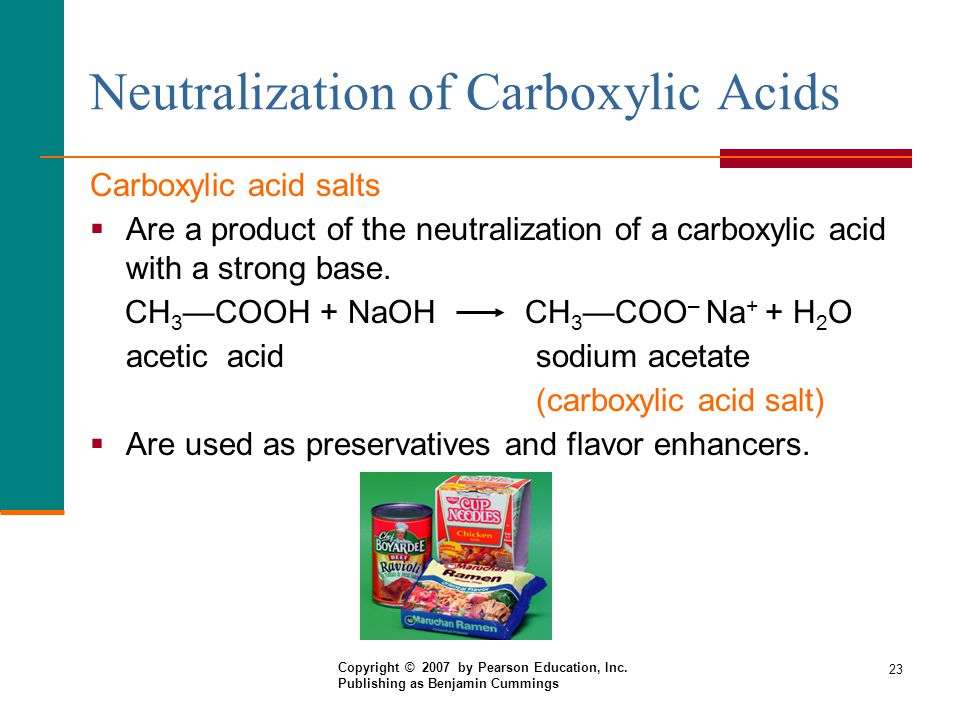 23 Neutralization of Carboxylic Acids Carboxylic acid salts  Are a product of the neutralization of a carboxylic acid with a strong base.