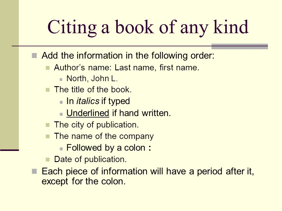 how to properly cite a book