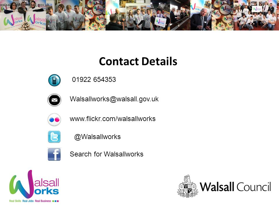 Contact Details Search for Walsallworks