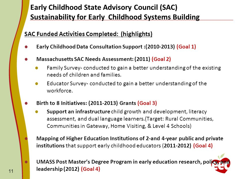SAC Funded Activities Completed: (highlights) Early Childhood Data Consultation Support :( ) (Goal 1) Massachusetts SAC Needs Assessment: (2011) (Goal 2) Family Survey- conducted to gain a better understanding of the existing needs of children and families.