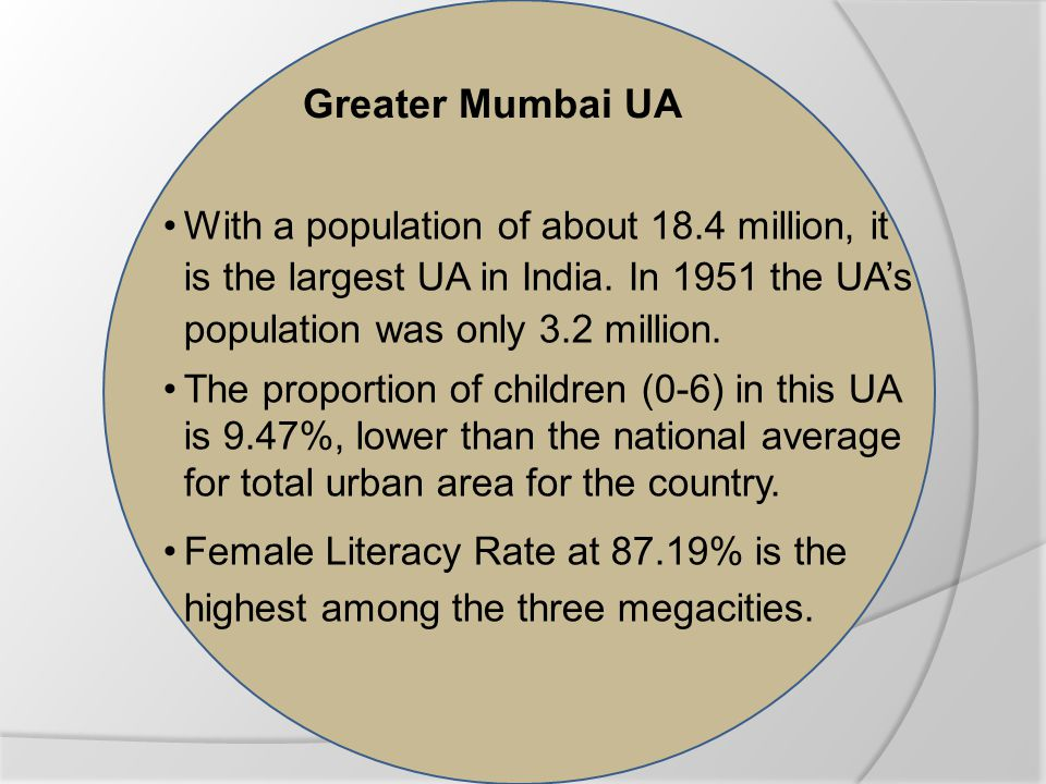 Greater Mumbai UA With a population of about 18.4 million, it is the largest UA in India.