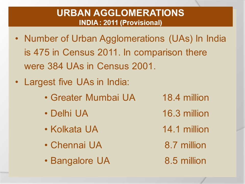 Number of Urban Agglomerations (UAs) In India is 475 in Census 2011.