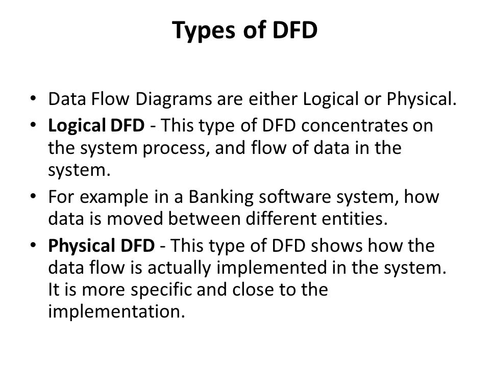 software design description  sdd  diagram samples    ppt downloadtypes of dfd data flow diagrams are either logical or physical  logical dfd   this