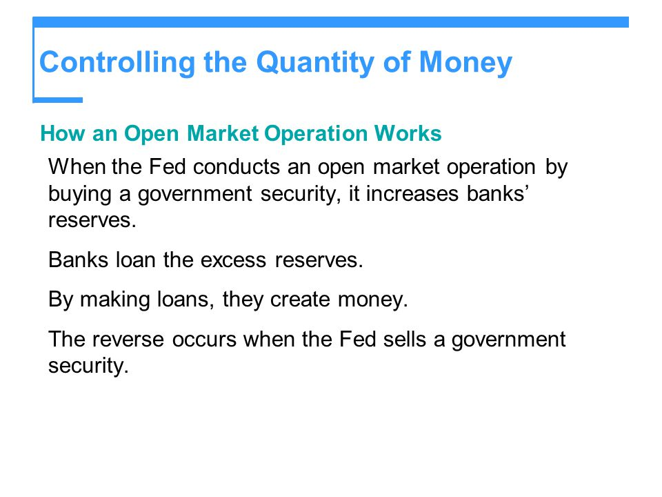 Controlling the Quantity of Money How an Open Market Operation Works When the Fed conducts an open market operation by buying a government security, it increases banks' reserves.