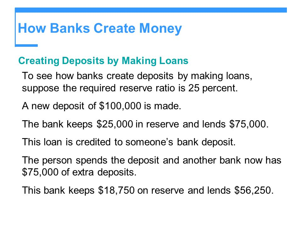 How Banks Create Money Creating Deposits by Making Loans To see how banks create deposits by making loans, suppose the required reserve ratio is 25 percent.
