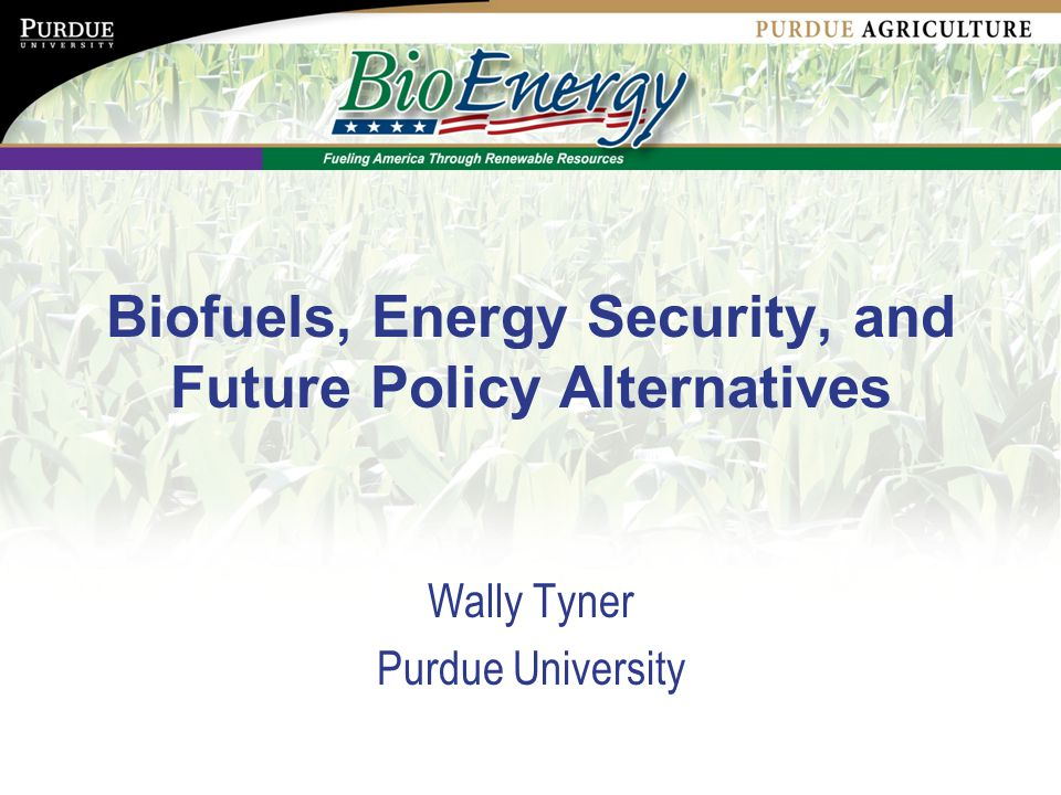Biofuels, Energy Security, and Future Policy Alternatives Wally Tyner Purdue University