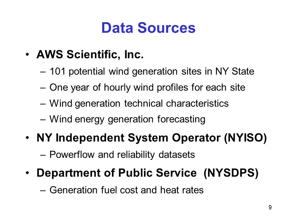 9 Data Sources AWS Scientific, Inc.
