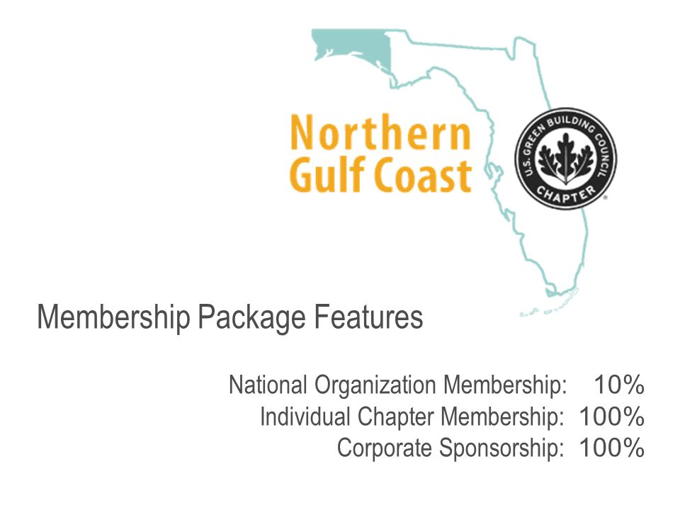 Membership Package Features National Organization Membership: 10% Individual Chapter Membership: 100% Corporate Sponsorship: 100%