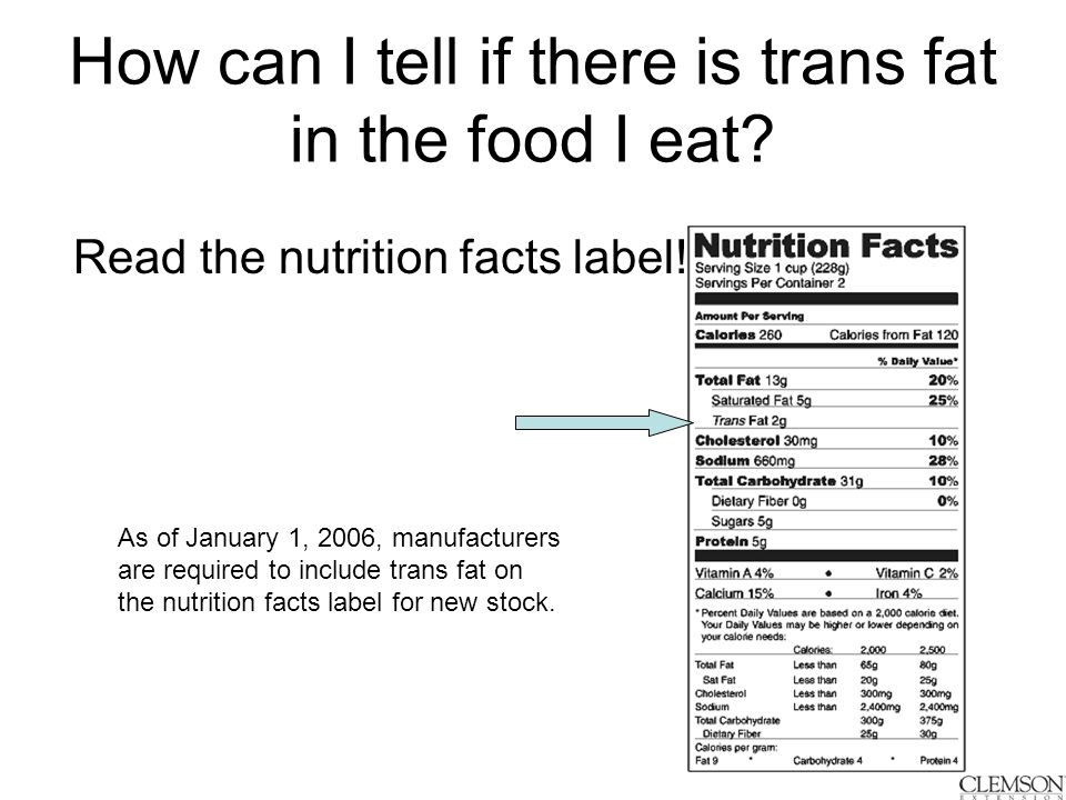 How can I tell if there is trans fat in the food I eat.