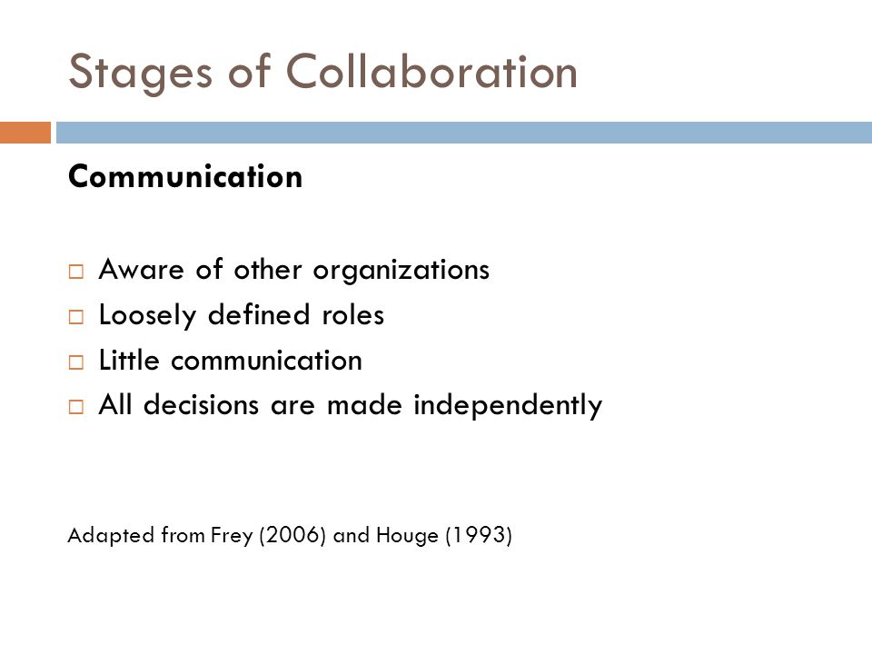 Stages of Collaboration Communication  Aware of other organizations  Loosely defined roles  Little communication  All decisions are made independently Adapted from Frey (2006) and Houge (1993)