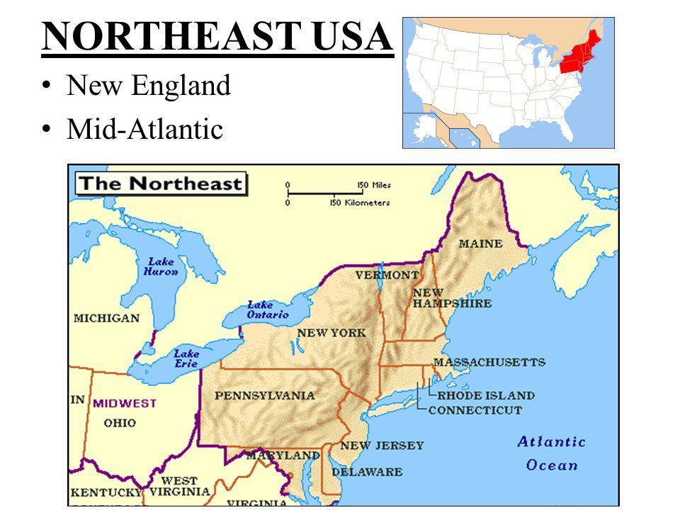 NORTHEAST USA New England MidAtlantic New England Northern - Map of northern states of usa