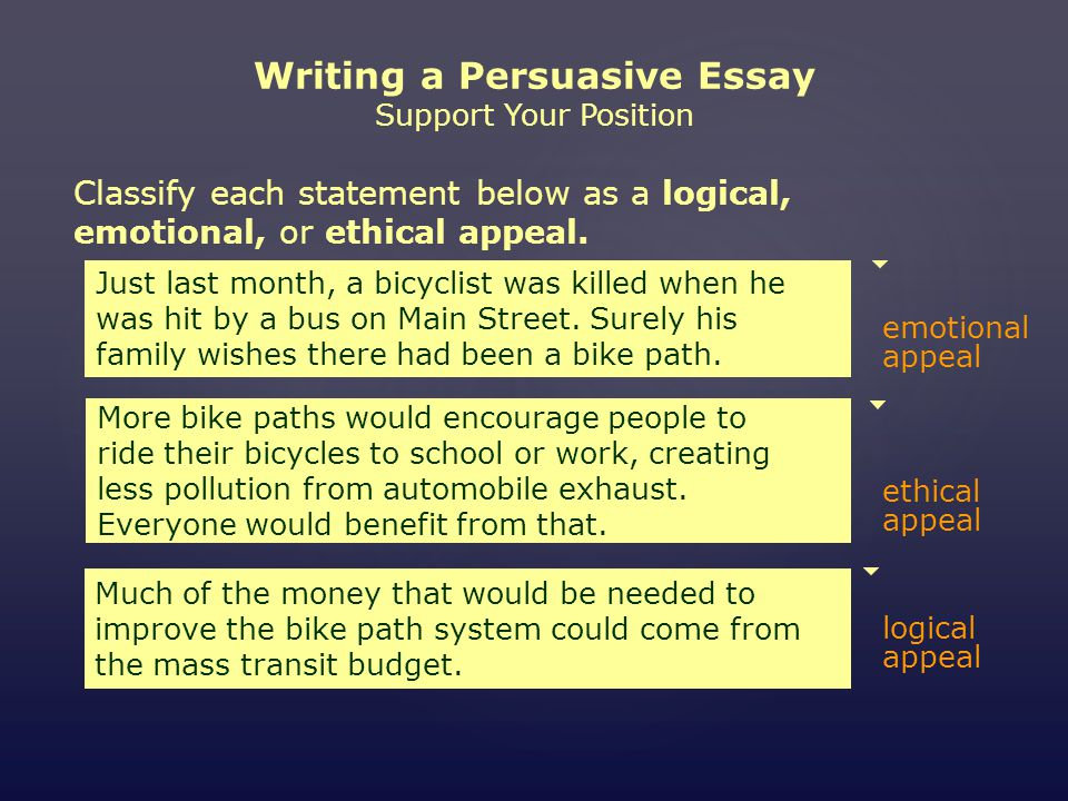 mini workshop writing a persuasive essay assignment choose an writing a persuasive essay support your position classify each statement below as a logical emotional
