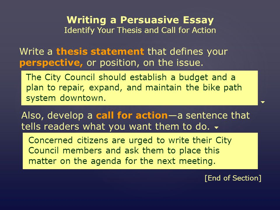 Topics For Proposal Essays Writing A Persuasive Essay Identify Your Thesis And Call For Action Also  Develop A Call English Class Reflection Essay also Example English Essay Miniworkshop Writing A Persuasive Essay Assignment Choose An  Simple Essays For High School Students