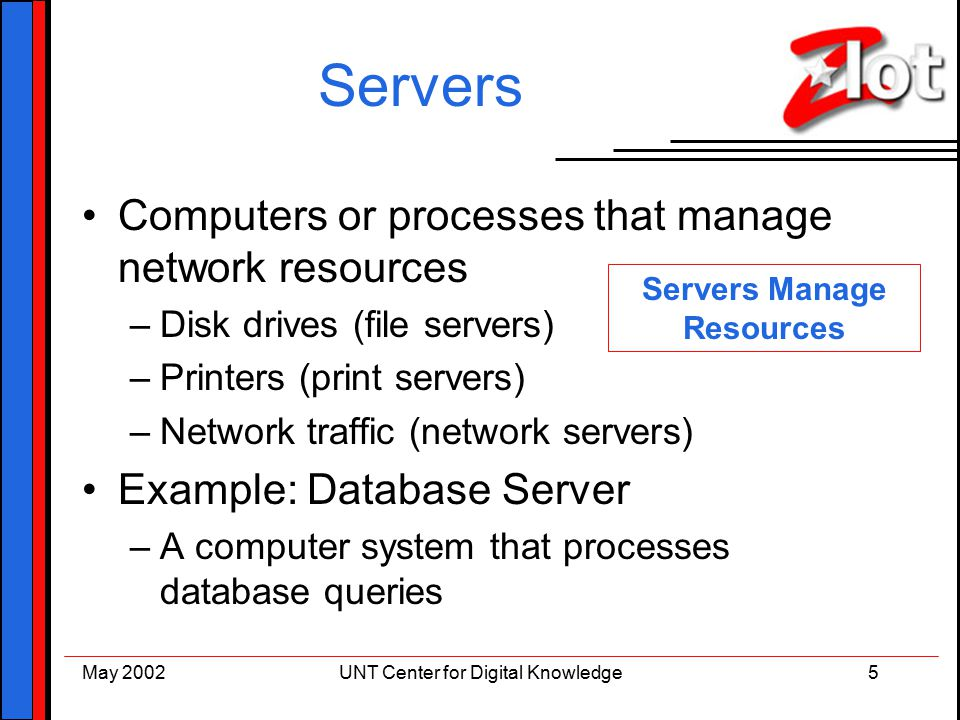Client server architecture a basic introduction kathleen r murray 5 may 2002unt center for digital knowledge5 servers computers or processes that manage network resources disk drives file servers printers print altavistaventures Choice Image