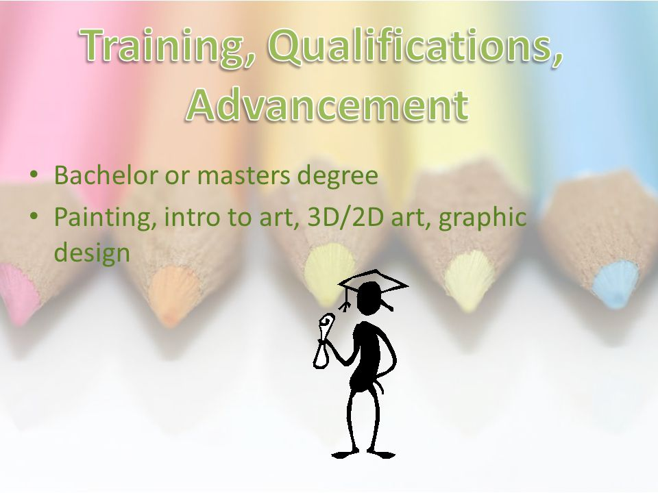 Bachelor or masters degree Painting, intro to art, 3D/2D art, graphic design