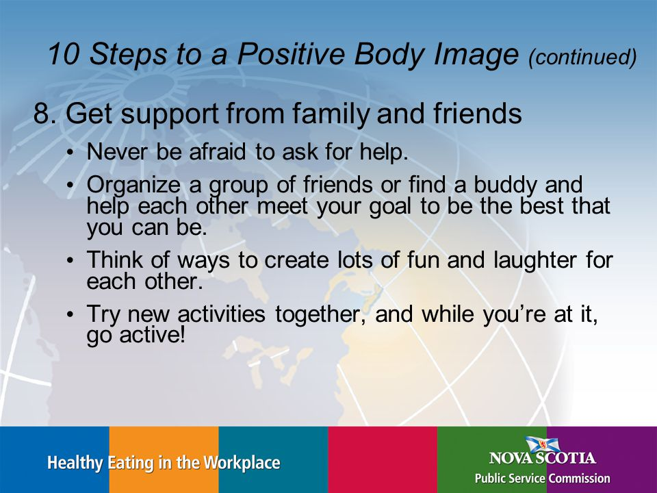 10 Steps to a Positive Body Image (continued) 8.