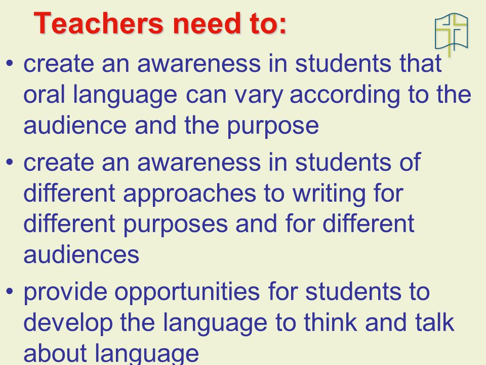 Teachers need to: create an awareness in students that oral language can vary according to the audience and the purpose create an awareness in students of different approaches to writing for different purposes and for different audiences provide opportunities for students to develop the language to think and talk about language