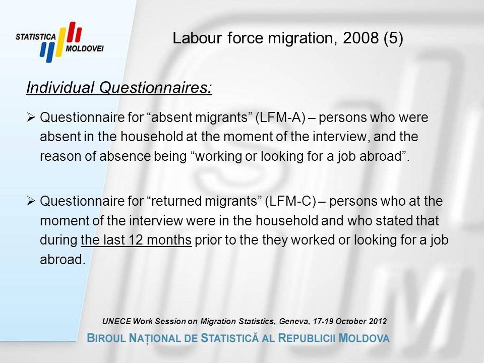 Labour force migration, 2008 (5) Individual Questionnaires:  Questionnaire for absent migrants (LFM-A) – persons who were absent in the household at the moment of the interview, and the reason of absence being working or looking for a job abroad .