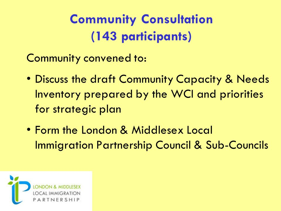 Community Consultation (143 participants) Community convened to: Discuss the draft Community Capacity & Needs Inventory prepared by the WCI and priorities for strategic plan Form the London & Middlesex Local Immigration Partnership Council & Sub-Councils