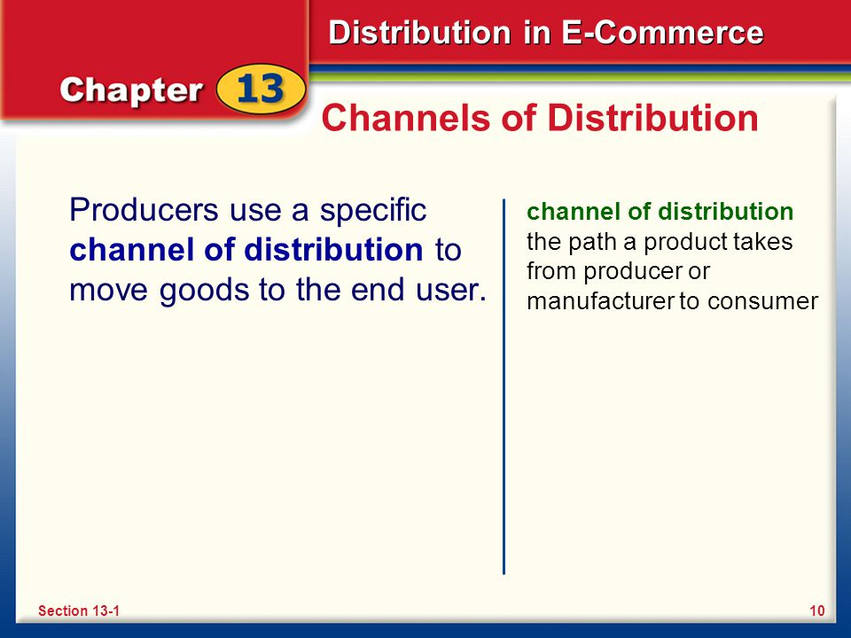 Distribution in E-Commerce Channels of Distribution Producers use a specific channel of distribution to move goods to the end user.