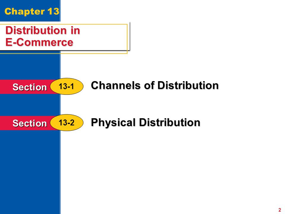 Distribution in E-Commerce Channels of Distribution Physical Distribution 2 Distribution in E-Commerce Section 13-1 Section 13-2 Chapter 13