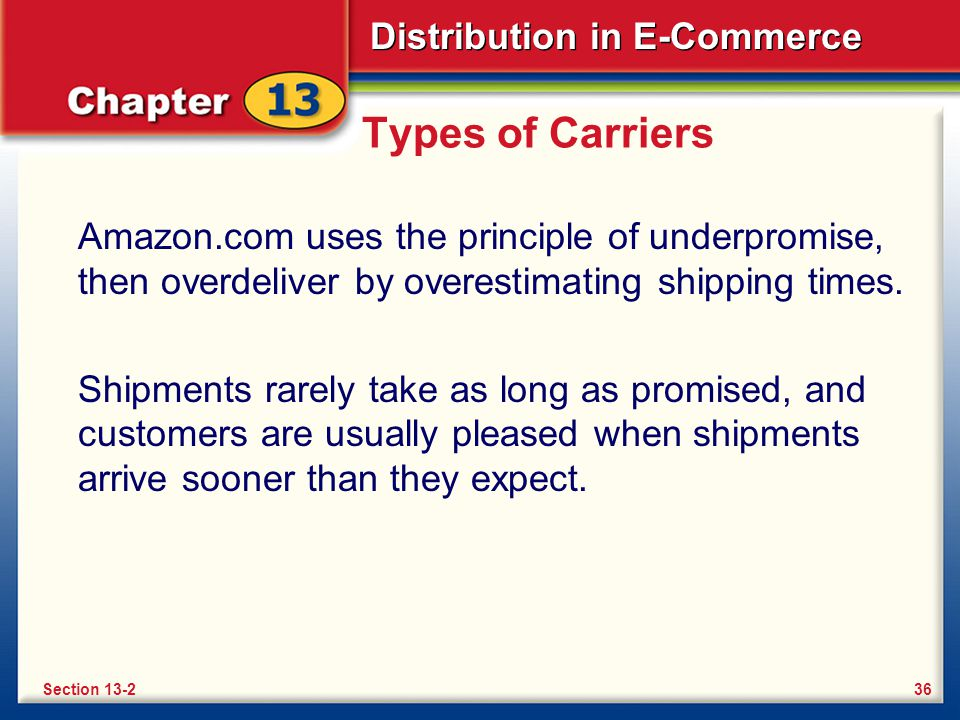 Distribution in E-Commerce Types of Carriers Amazon.com uses the principle of underpromise, then overdeliver by overestimating shipping times.