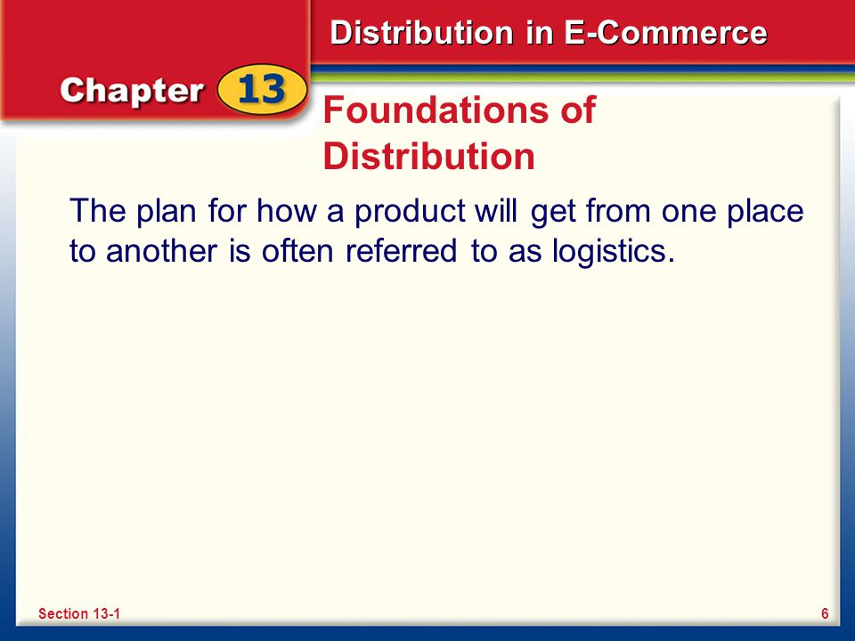 Distribution in E-Commerce Foundations of Distribution The plan for how a product will get from one place to another is often referred to as logistics.