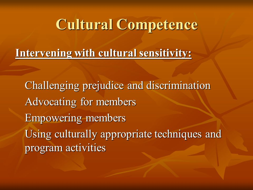 Cultural Competence Intervening with cultural sensitivity: Challenging prejudice and discrimination Advocating for members Empowering members Using cu