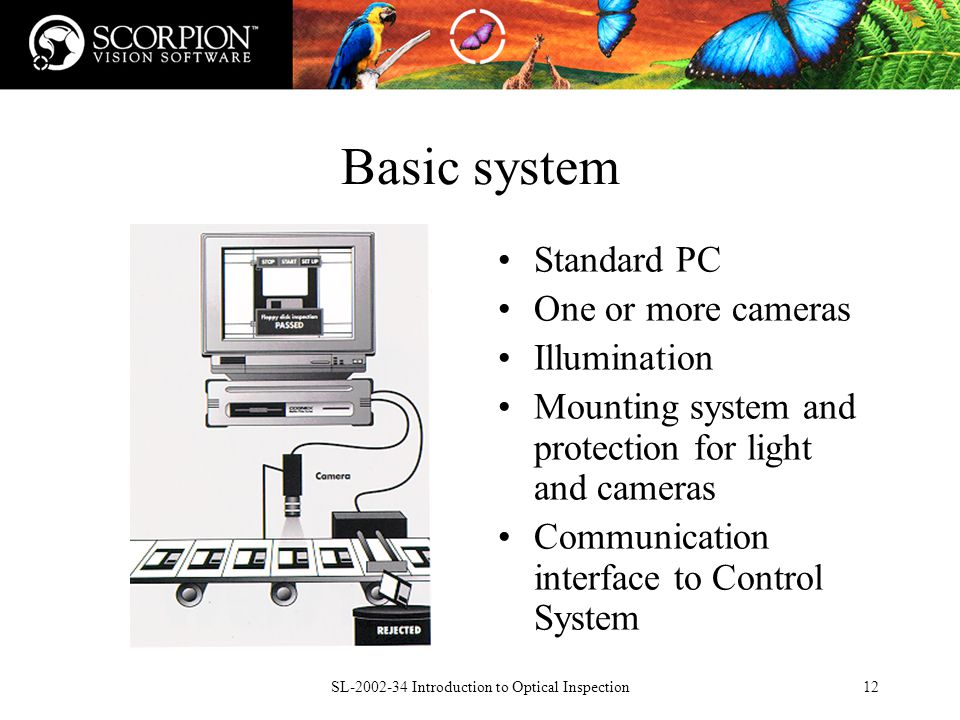 SL Introduction to Optical Inspection12 Basic system Standard PC One or more cameras Illumination Mounting system and protection for light and cameras Communication interface to Control System