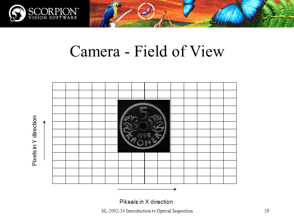 SL Introduction to Optical Inspection19 Camera - Field of View Piksels in X direction Pixels in Y direction