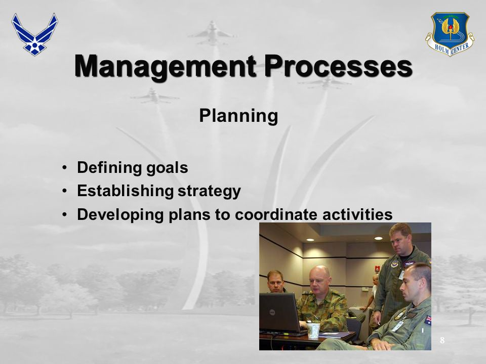 88 Management Processes Planning Defining goals Establishing strategy Developing plans to coordinate activities
