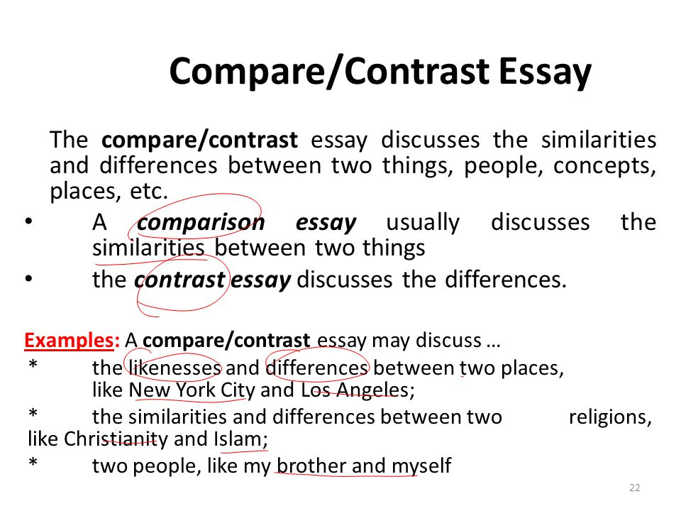 write compare contrast essay between two people