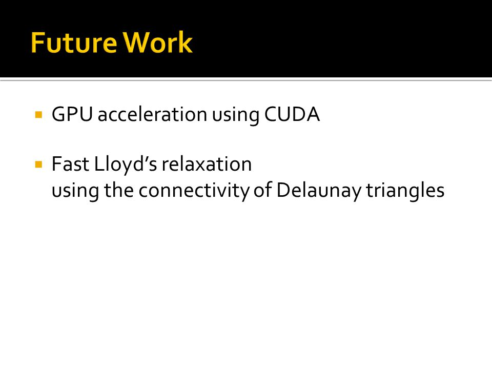  GPU acceleration using CUDA  Fast Lloyd's relaxation using the connectivity of Delaunay triangles